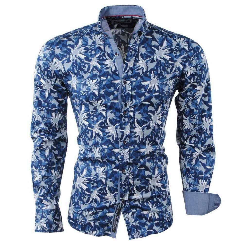 e37469986 Carisma - Men Shirt - Flowers - Stretch - Dark Blue: Amazon.co.uk: Clothing