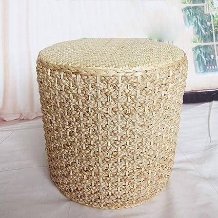 Huoduoduo Presidente, natural y ecológico hierba tejida silla de mimbre Taburete, creativo tejido a