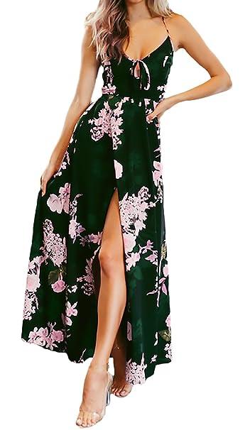 9a03571bfada37 Vestiti Donna Estivi Lunga Elegante Smanicato V Collo Senza Chic Schienale  con Lacci Boho Vestito Mare Stampa Fiore Fashion Tempo Libero Vacanza  Vestito ...
