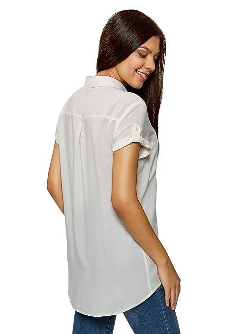 oodji Ultra Mujer Blusa de Viscosa con Bolsillos en el Pecho: Amazon.es: Ropa y accesorios