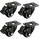 Meccion 2 inch Swivel Caster Wheels Rubber Base & Double Bearing Heavy Duty with Brake Set of 4