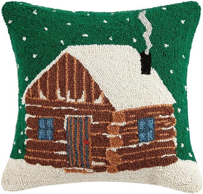 Amazon Com Peking Handicraft Winter Log Cabin Wool Hooked Dog Throw Pillow 16 X 16 Furniture Decor