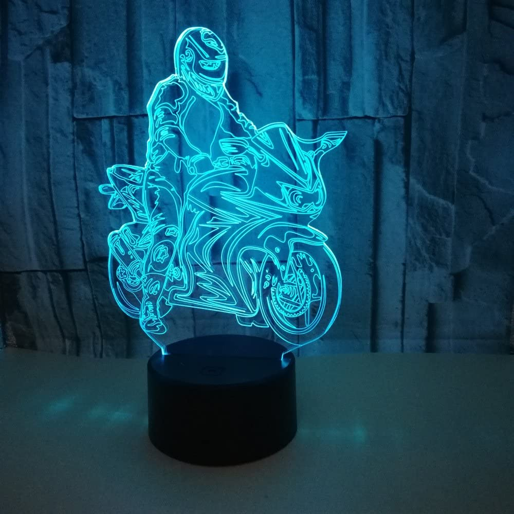 LED 3D Motociclista Luz nocturna lámpara de ilusión de cabecera 7 Lámpara con control remoto decambio decolor regalos de cumpleaños perfectos para niños