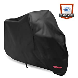 Motorcycle Cover,WDLHQC 210D Waterproof Motorcycle Cover All Weather Outdoor Protection,Oxford Durable & Tear Proof,Precision Fit for length 87 inch Motors