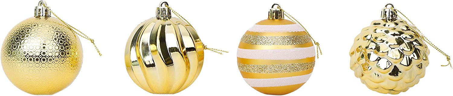 Toyland/® 20 x 6cm Gold Christmas Baubles With Assorted Designs Tree Decorations