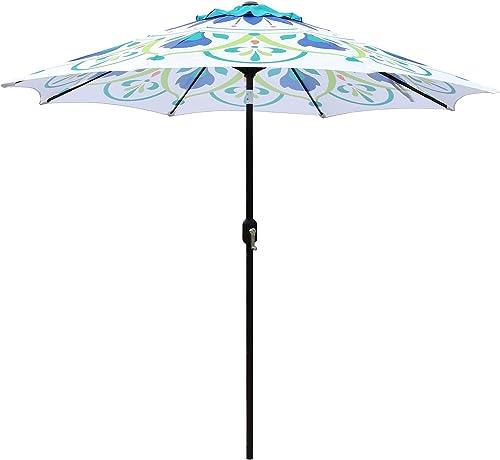 ABBLE Outdoor Patio Umbrella 9Ft Crank Tilt Printed Umbrella Market Umbrella Picnic Table Umbrella Pool Umbrella