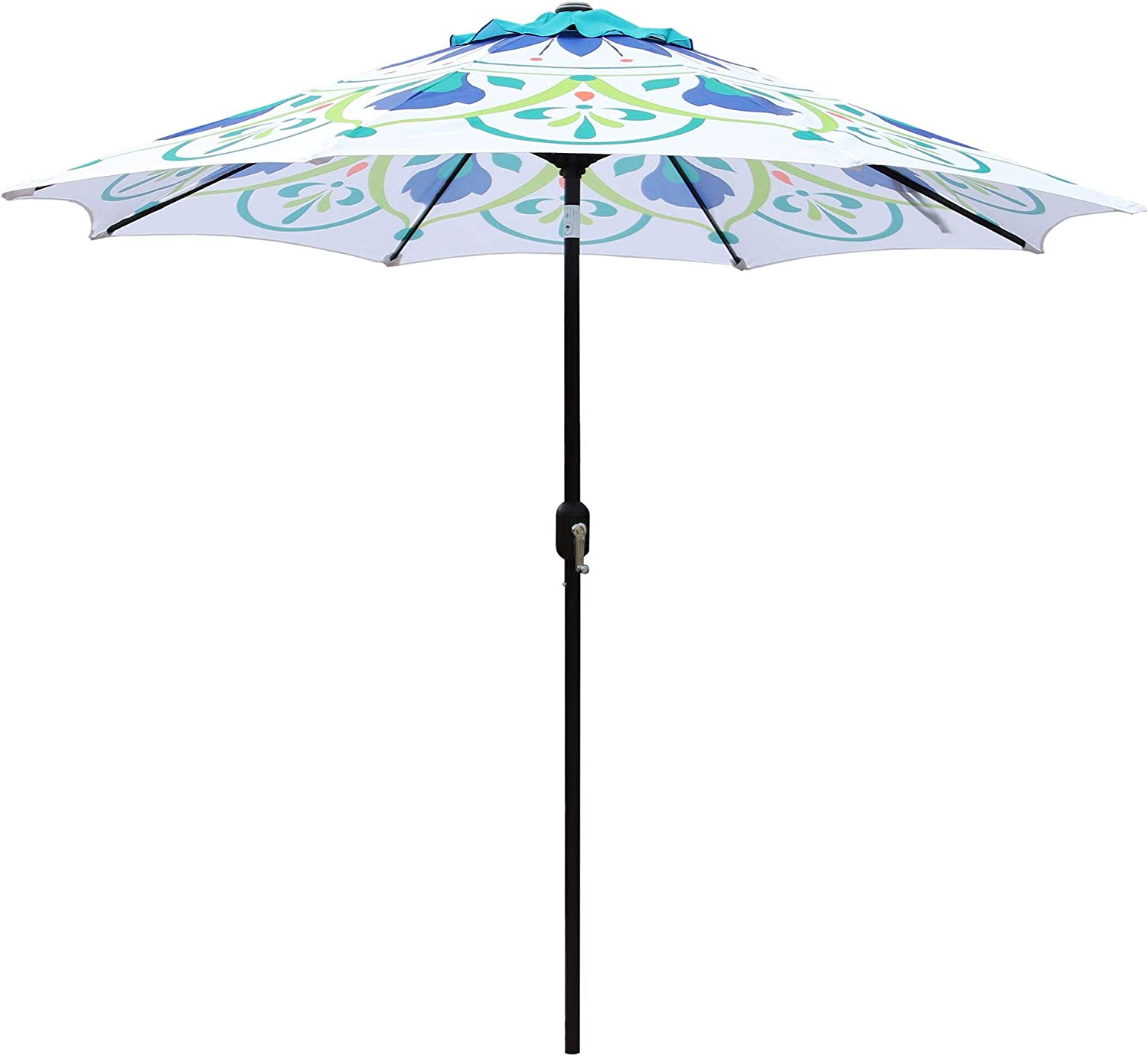 ABBLE Outdoor Patio Umbrella 9Ft Crank Tilt Printed Umbrella Market Umbrella Picnic Table Umbrella Pool Umbrella for Garden, Deck, Backyard and Beach- Printed