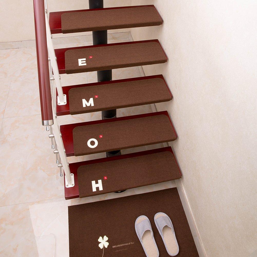 15set di cuscinetti per scale 21.65* 8.66* 1.77in luminoso ricamo coprigradini , in legno massiccio non scivola, autoadesiva, scale, caffè s-tubit