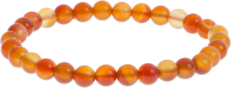 Pulsera de piedra preciosa natural de 6 mm, cornalina, joyas para hombre y mujer, para parejas, idea regalo de papá mamá (cornalina)