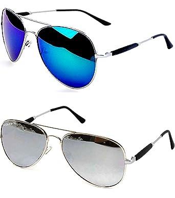 8fc2bf59b9d8 Younky Aviator Mercury Unisex Sunglasses (M21_AvstkBM-AvstkSM, 55, Blue)  -Combo of 2: Amazon.in: Clothing & Accessories