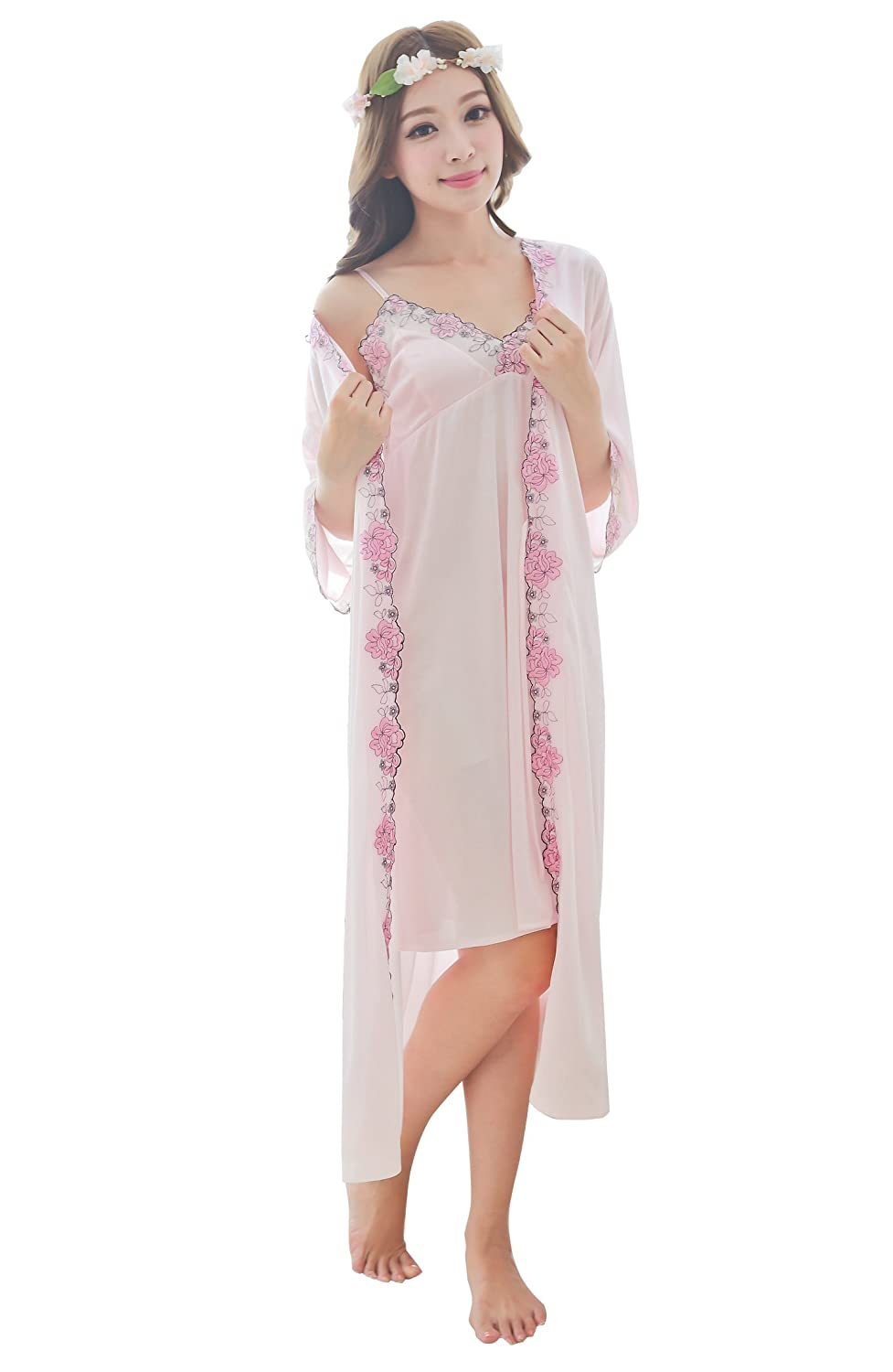 Camellia12 Silk Gorgeous Slip & Robe Set,2PC Long Sleepwear & Floral Lace Trim