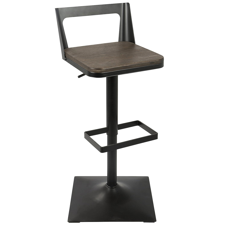 LumiSource Samurai Industrial Adjustable Barstool in Black and Espresso by LumiSource BS-SAMR BK+ESP
