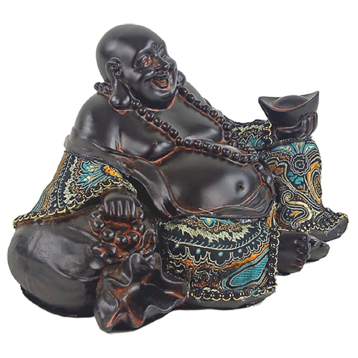 Estatua Buda chino sonriente con tela Prosperidad s/ímbolo felicidad y riqueza 21.5/x 16/x 13.5/cm China 530/gr Estatua Ridente