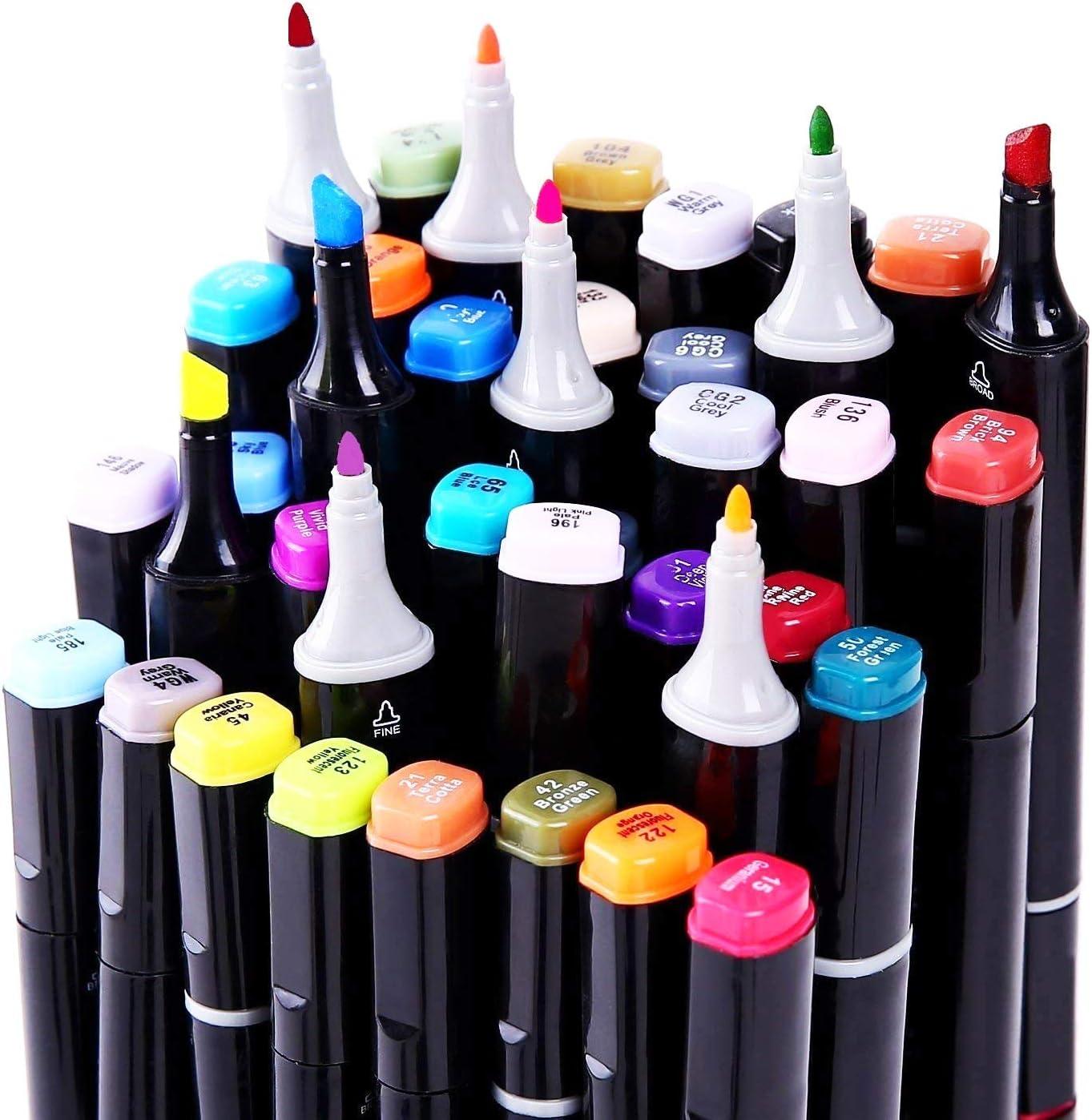 AMAZLA marqueurs permanents,Marker Lot de 80 marqueurs /à feutre alcool double pointe Animation Art Esquisse