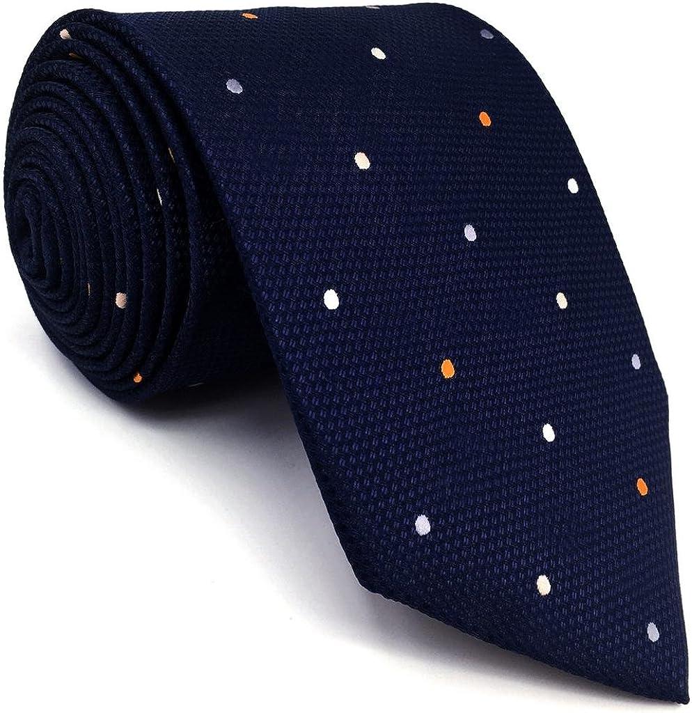 shlax&wing Puntos Azul Navy Corbatas Para Hombre Traje de negocios Seda Puntos 147cm: Amazon.es: Ropa y accesorios