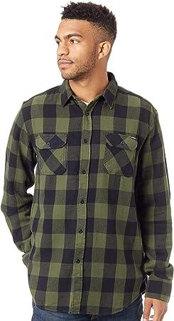 Santa Cruz Camisa De Manga Larga Derby Verde Oscuro-Negro Check (L, Verde Oscuro)