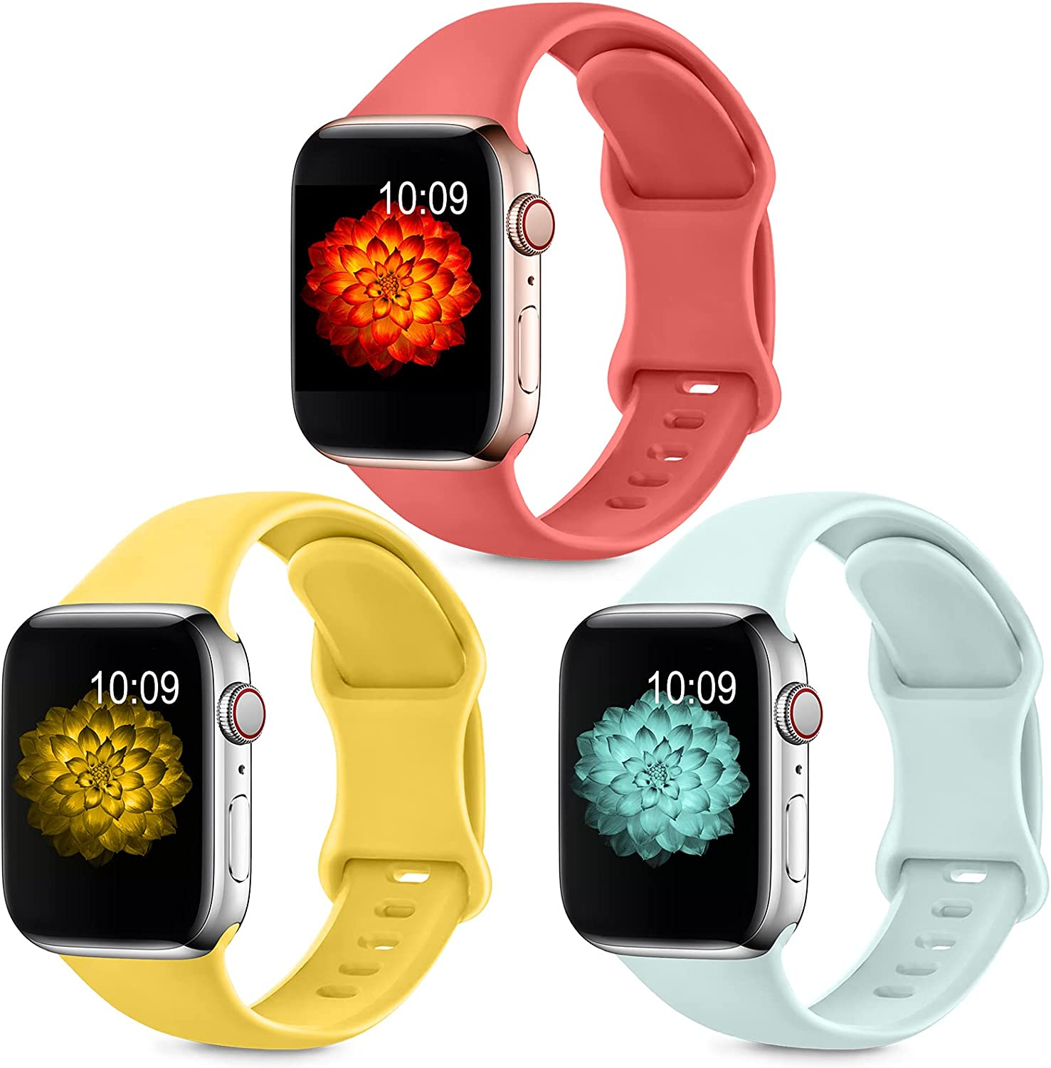 3 Pack Sport Band Compatible with Apple Watch Bands 38mm 40mm 42mm 44mm for Women Men, Soft Silicone Replacement Strap Band for iwatch SE/Series 6/5/4/3/2/1