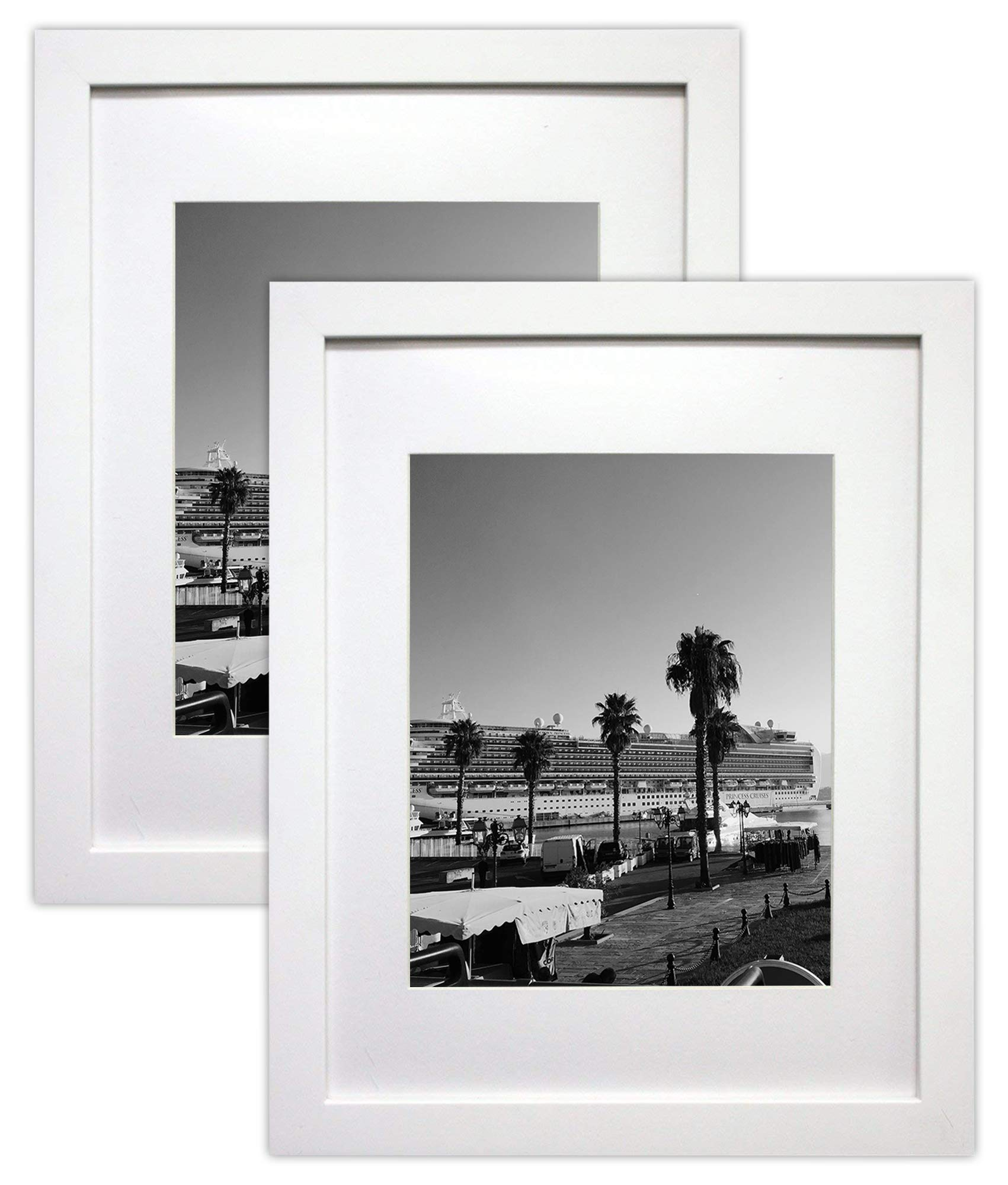 Golden State Art Set of 2, 11x14 White Picture Frame - Matted for 8x10 Photos - Wood Framing - Wall Mounting - Landscape/Portrait - Great for Family/Group Photos by Golden State Art