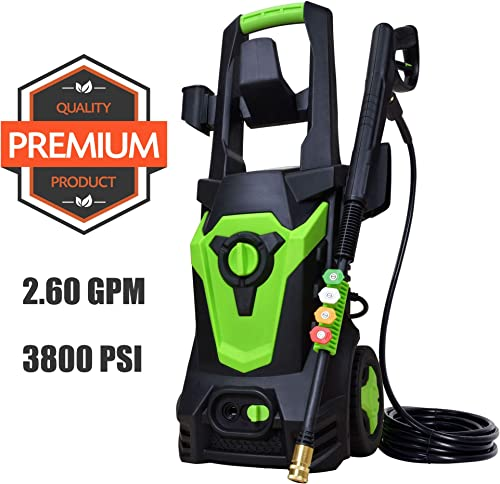 Azoran 3800PSI 2.6 GPM Electric Power Washer, Power Cleaner Machine with 4 Quick-Connect Spray Tips and 20Ft High Pressure Hose