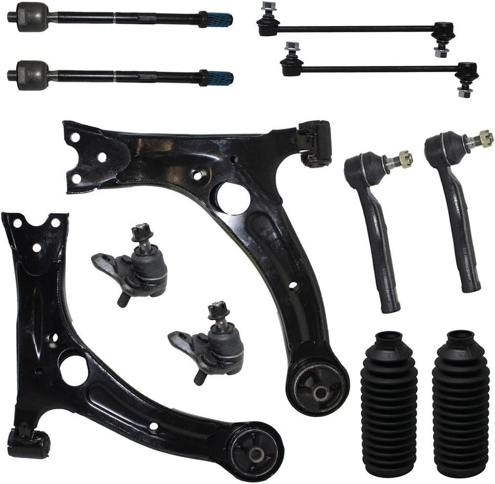 14 Pcs Complete Front End Kit 2 Upper 2 Lower Ball Joint 2 Inner 2 Outer Tie Rod Rear and Front Links Right and Left Side