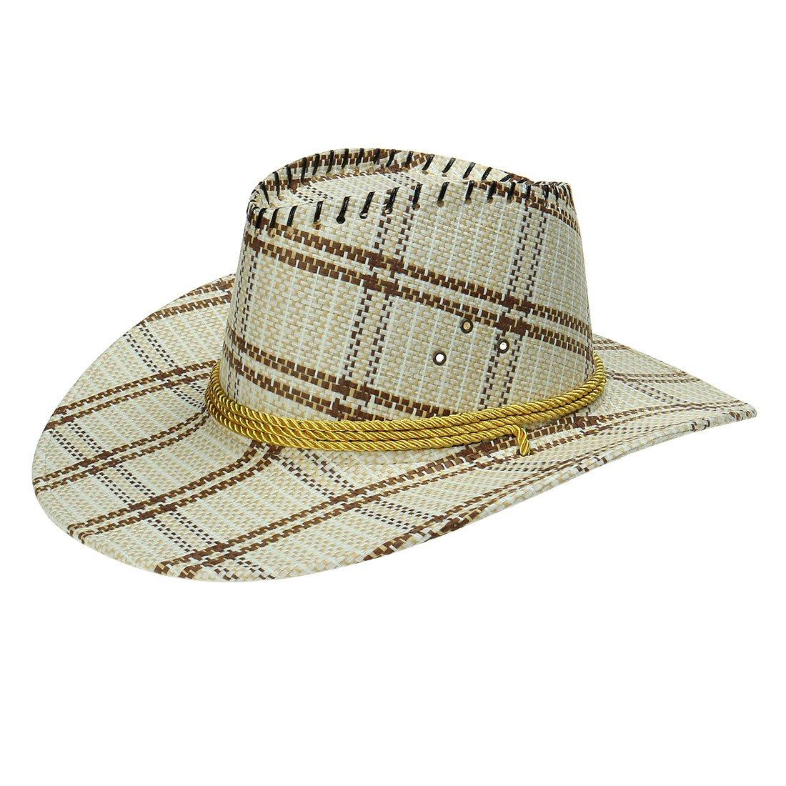 sourcing map Sombrero Cowboy para Hombres Patrón De Rejilla Trenzada ...