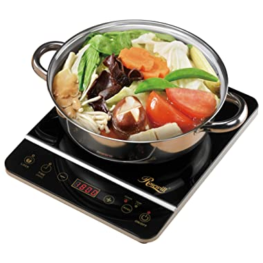 Rosewill 1800 Watt Induction Cooker Cooktop , Included 10  3.5 Qt 18-8 Stainless Steel Pot, Gold, RHAI-16001