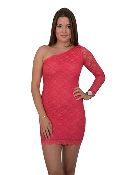 uk availability 9c65f 69d4b Fashion - Vestito - Monospalla - Donna Rosso Corallo: Amazon ...