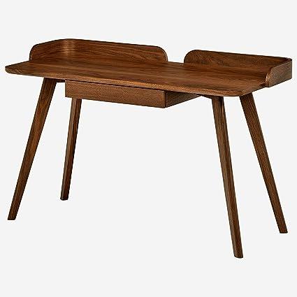 Minimal Computer Desk Table Workspace Workstation Sleek Surface Wooden  Frame Minimal Modern For Office Studio Room