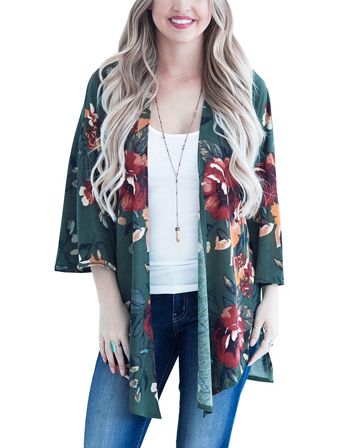 Deep green Women's Floral Kimono Cardigan Casual Loose Boho Beach Cover up Wraps Blouses Top