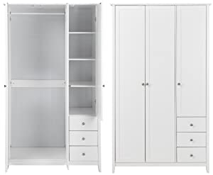 Tesco Skandi 3 Door 3 Drawer Solid Pine Triple Wardrobe - White