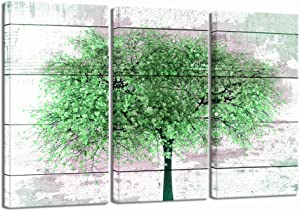 LevvArts - Large 3 Piece Canvas Art Green Tree with Rustic Wood Texture Painting Print on Canvas Abstract Tree Artwork for Home Office Living Room Decor Gallery Wrap Ready to Hang