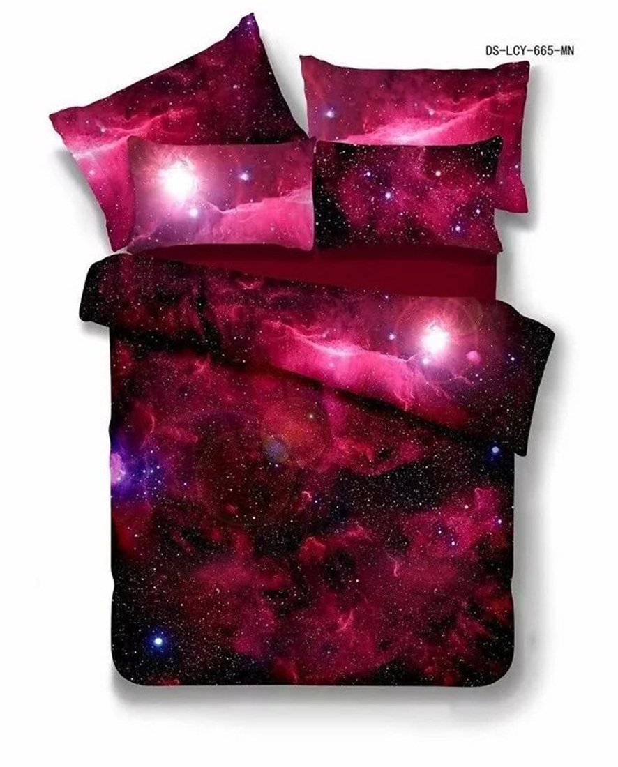 3D Bedruckte Steppdecke Bettbezug Kissenbezü ge Spannbetttuch Geheimnisvolle Boundless Galaxy Red Sky Starry Night Betten Sets, Stil 1, 3PCS:160-210cm Tifee