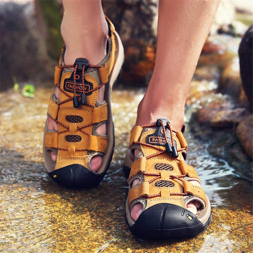 todaysunny Men Sandals Closed Toe Walking Fastening Hiking Sport Shoes Leather Sandals