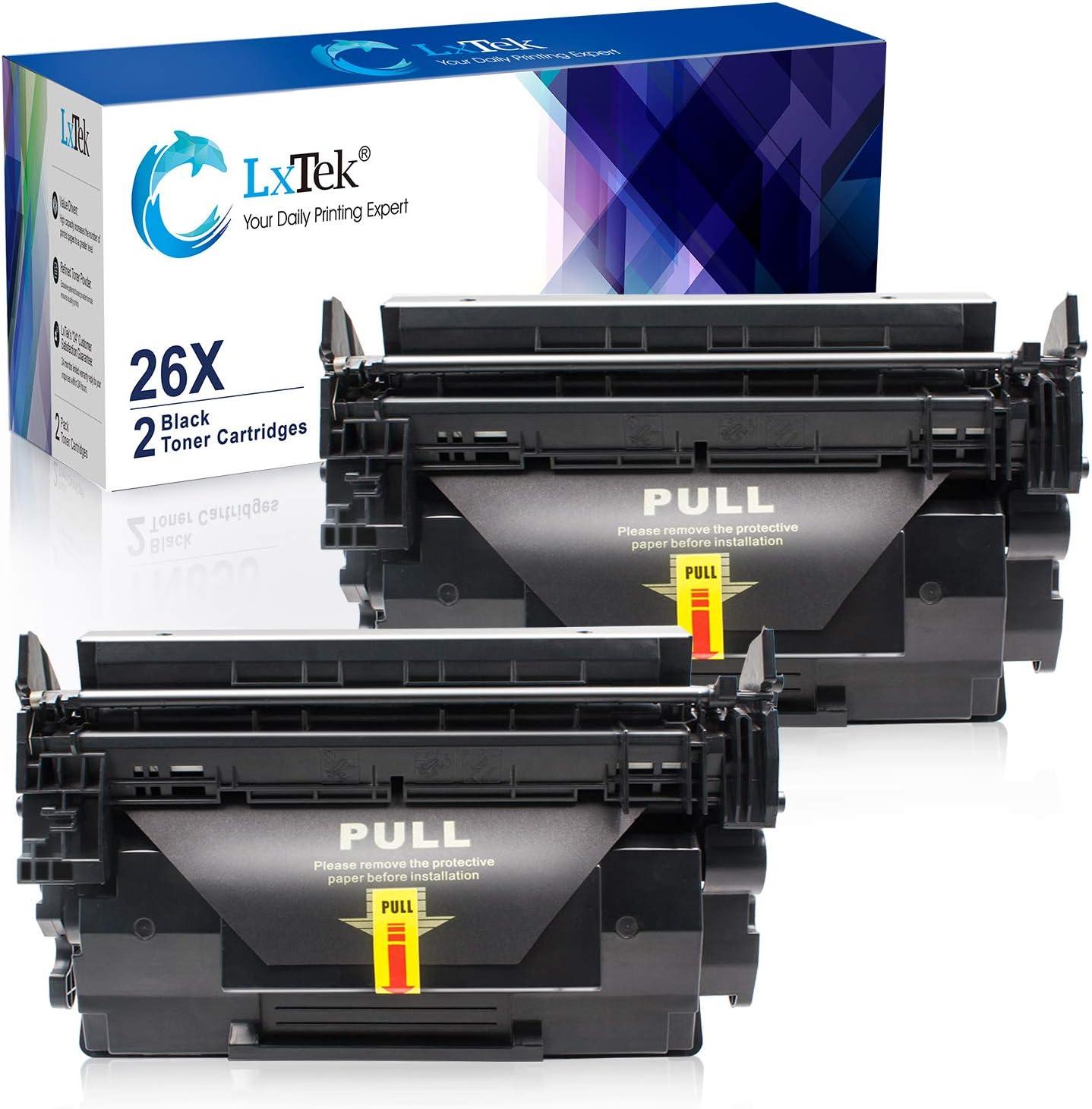 LxTeK Compatible Toner Cartridge Replacement for HP 26A CF226A 26X to use with LaserJet Pro M402dn M402n M402dw, MFP M426fdw M426fdn, M402dne M426dw Printer (2 Black)