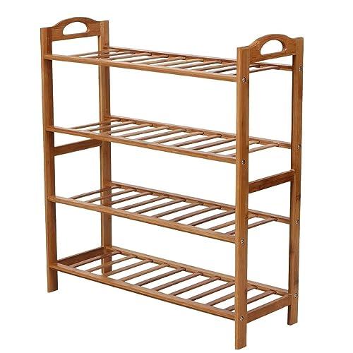 WoodLuv 4-Tier Natural Bamboo Wooden Shoe Rack Storage Organizer