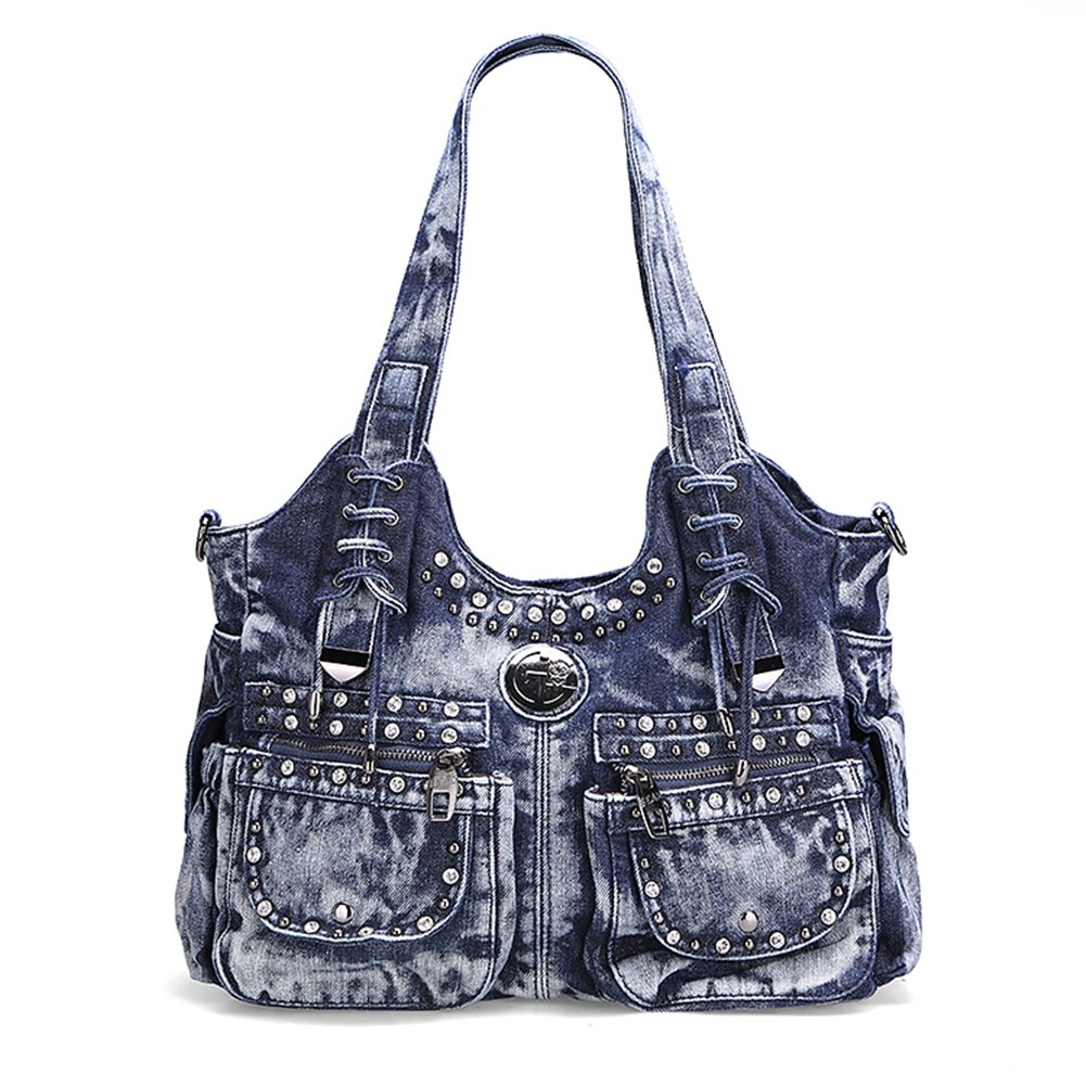 Genda 2Archer Women Casual Denim Shoulder Bag Tote Handbag Hobo Bag (Blue)