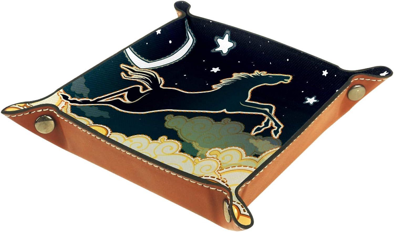 TIZORAX Caballo Gollaping en Noche Cielo Nubes Caja de almacenamiento de cuero Valet Tray Organizador de joyas para llave de moneda