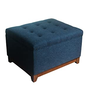 HomePop Upholstered Chunky Textured Tufted Storage Ottoman with Hinged Lid, Blue