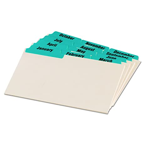 Oxford Index Card Guides with Laminated Tabs, Monthly, January-December, 5