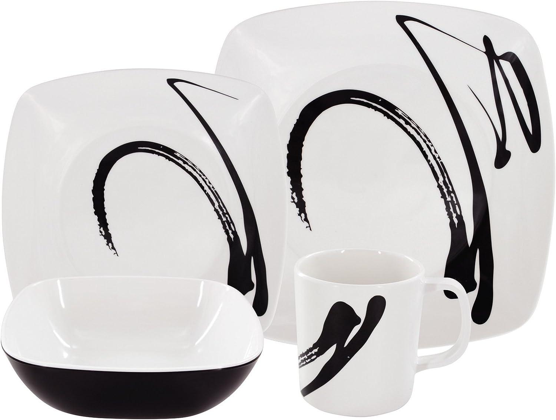 Platos #11 Vajilla de melamina de 16 Piezas para 4 Personas vajilla de Picnic Tazas Cuencos en Moderno dise/ño de Tinta