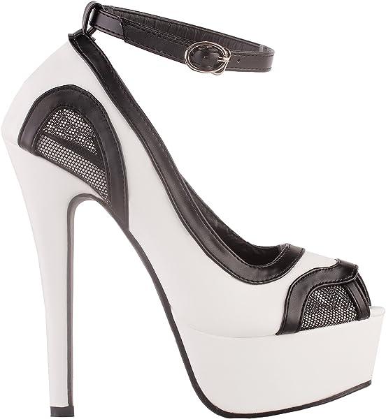 5c4f9e3ce9f Fab Two Tone Cut-Out Mesh Ankle Strap Platform Stiletto Heel Dress Pumps