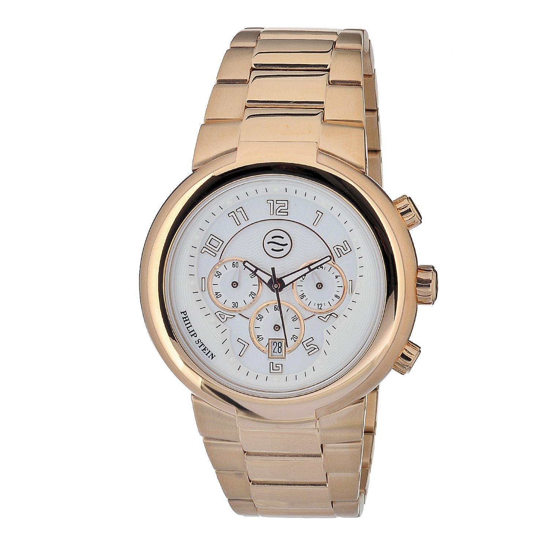 Philip Stein – 32-argw-rgss – Armbanduhr – Quarz Analog – Weißes Ziffernblatt – Armband Gold Rosa