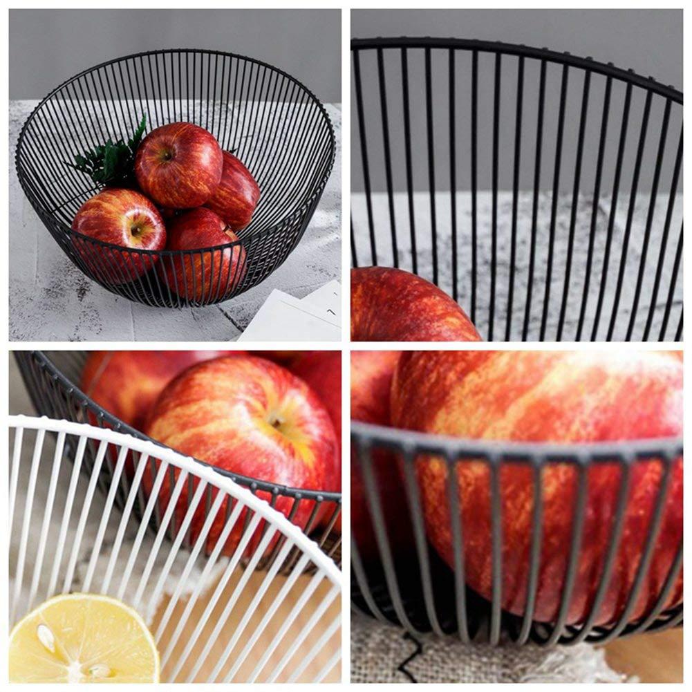 Color Negro Cesta de Metal Forjado para Frutas Expositor para decoraci/ón de Comedor Decorada Heraglan