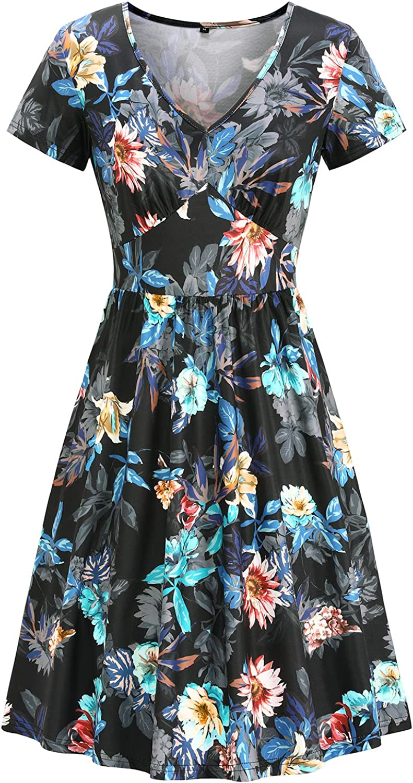 1940s Dresses | 40s Dress, Swing Dress, Tea Dresses Newshows Womens Summer Button Down Short Sleeve Midi Skater Casual Dress with Pockets  AT vintagedancer.com