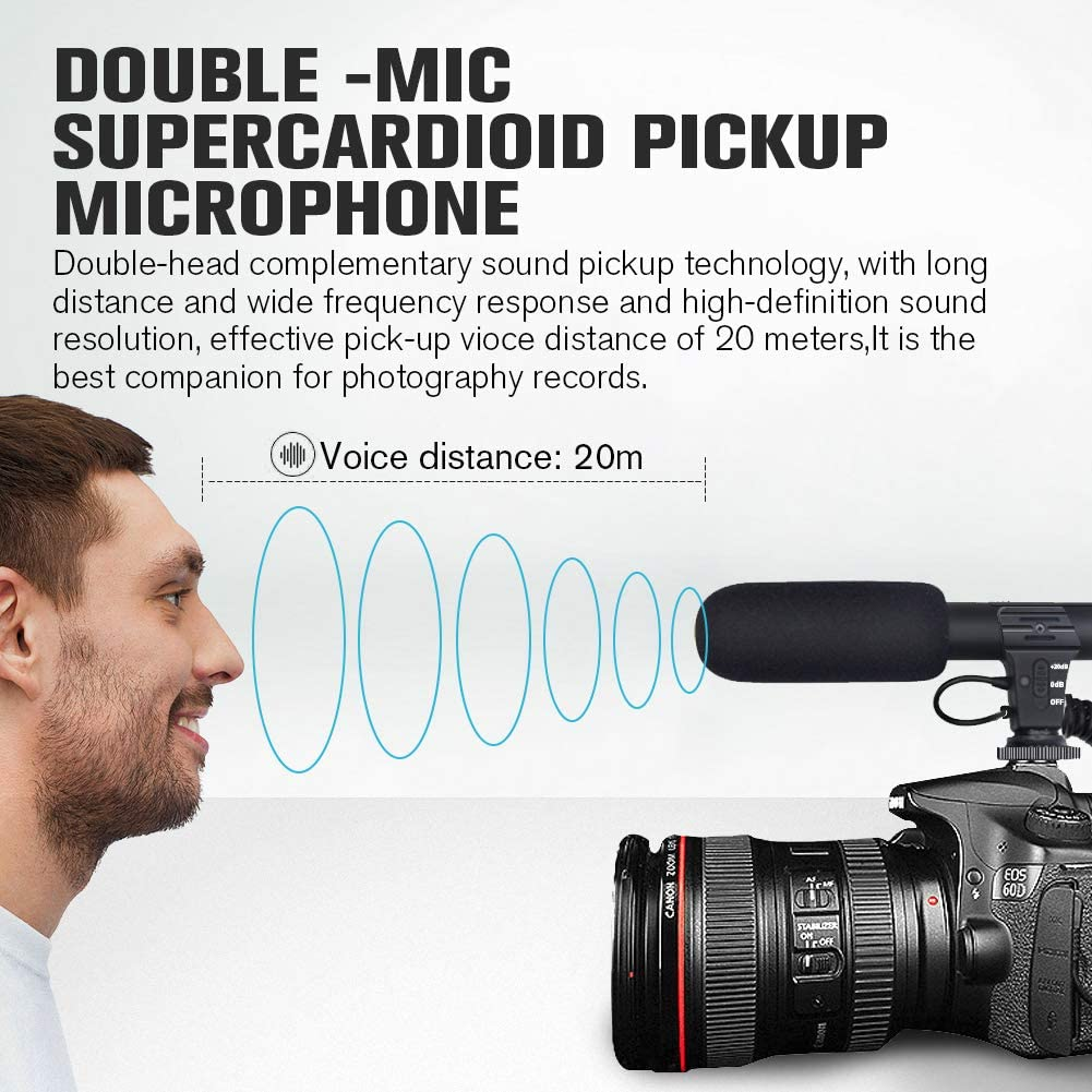 3.5mm Interface Metal Super-Cardioid Camera Microphone with Deadcat Windscreen and Earphone Monitor Hole Works with iPhone//Andoid//Smartphones//Camera Ploture Phone Microphone and Video Microphone