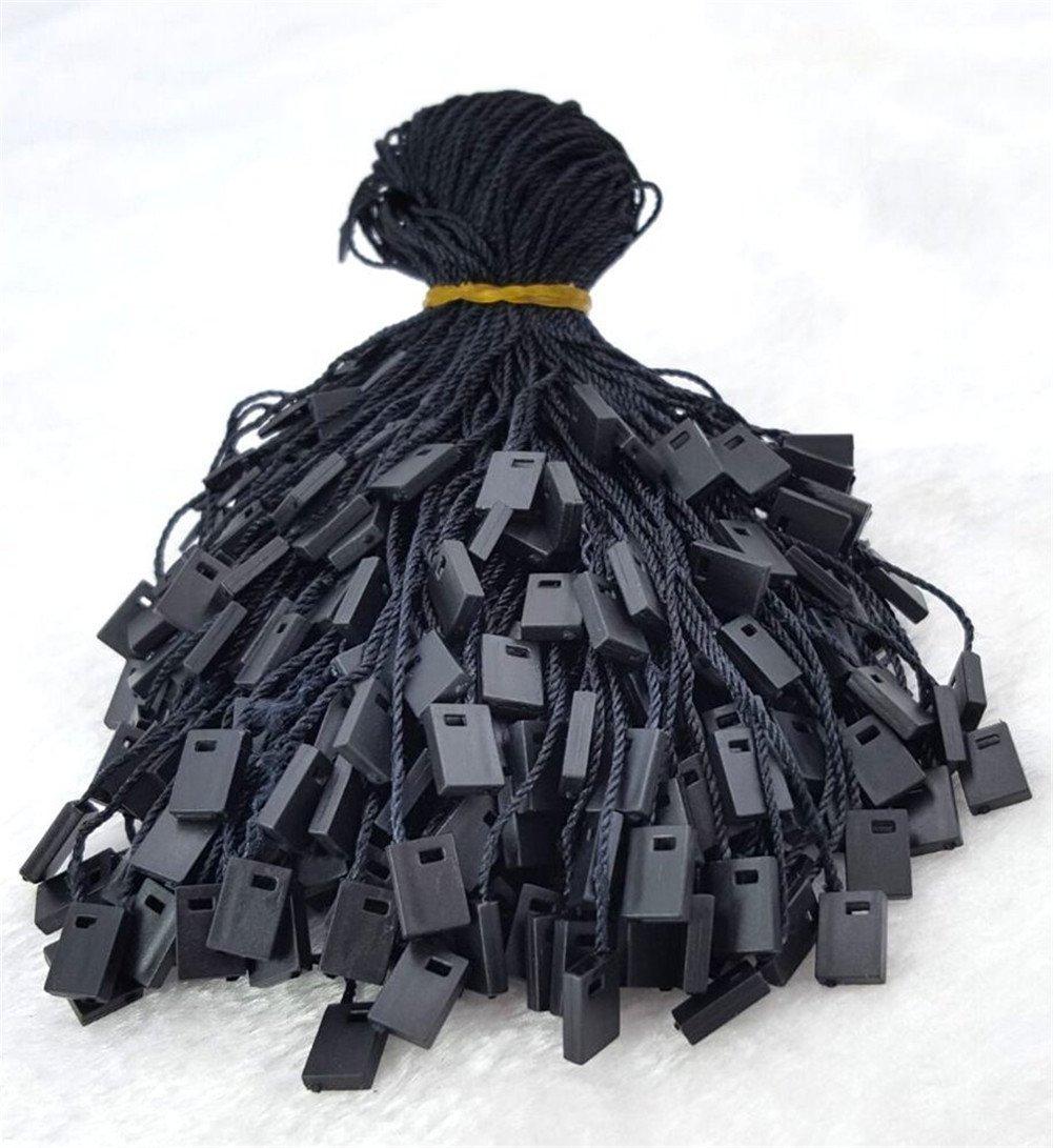 Obling 1000pcs Hang Tag Polyester String Snap Lock Pin Loop Fastener Hook Ties (Black)