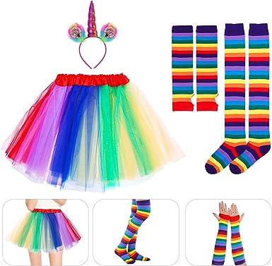 BESTOYARD Unicornio Cosplay Set Rainbow Tutu Falda con Diadema Arm ...