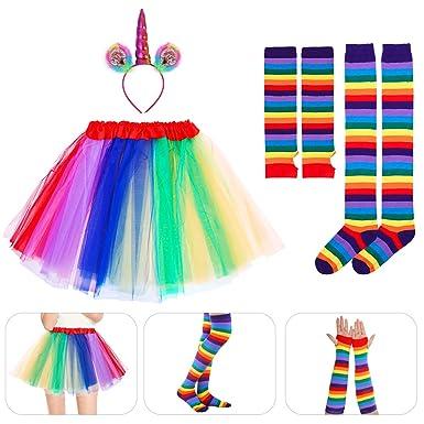 6499e39d61 BESTOYARD Unicorn Cosplay Set Rainbow Tutu Skirt Headband Arm Warmer Leg  Stocking Halloween Costumes Adult Halloween Carnival Party: Amazon.in:  Clothing & ...