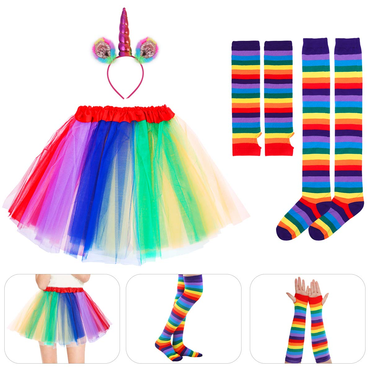 Amosfun Unicorn Cosplay Set Rainbow Tutu Skirt with Headband Arm Warmer Leg Stocking for Adult Halloween Carnival Party