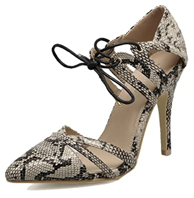32e043911ccb Easemax Women s Sexy Snakeskin Cut Out Straps Lace Up Pointed Toe High  Stiletto Heel Sandals Apricot